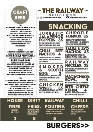 The Railway Craft Pub and Kitchen Menu Summer 2017 Snacking