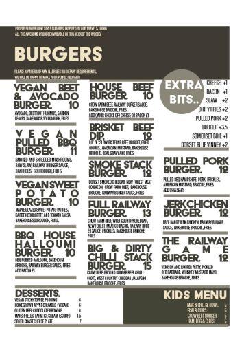 The Railway Craft pub and Kitchen Burger Menu