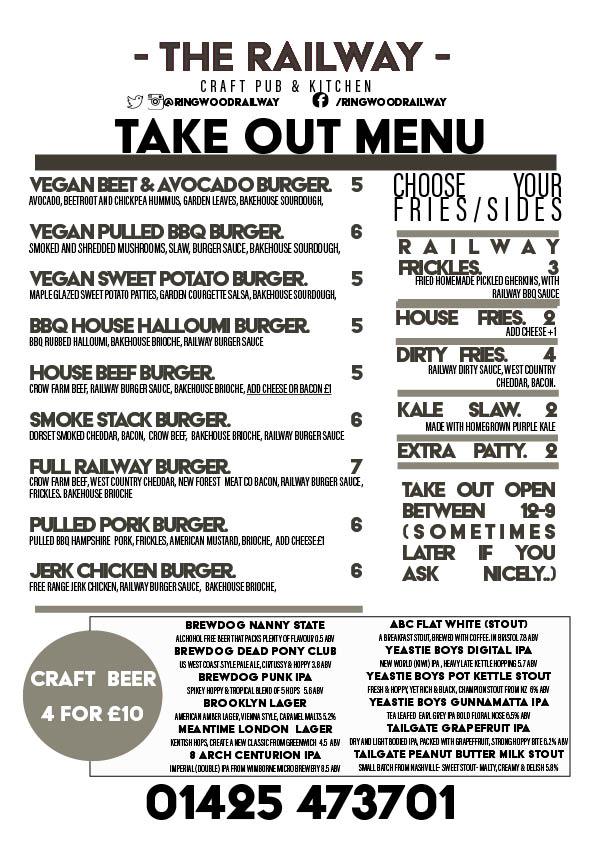 Railway Ringwood burger take out menu